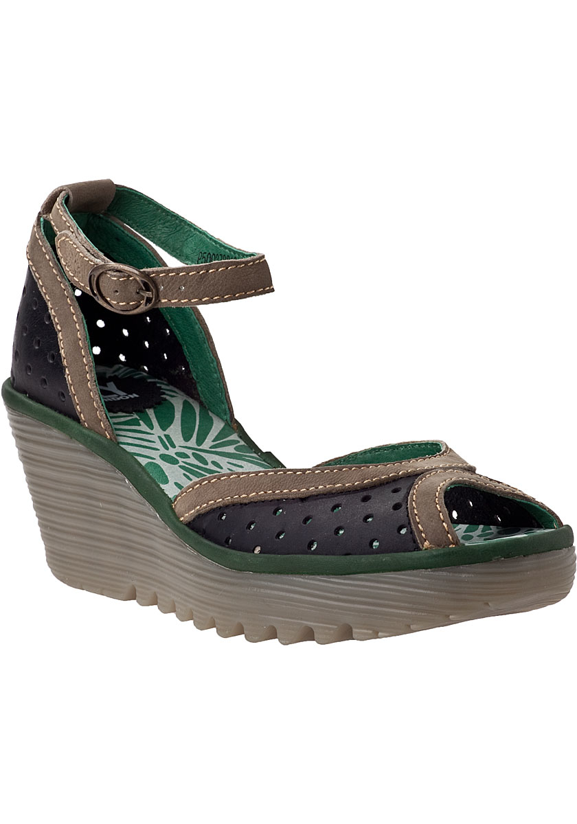 d52d6a4392de Lyst - Fly London Yoda Perforated-Leather Wedges in Black