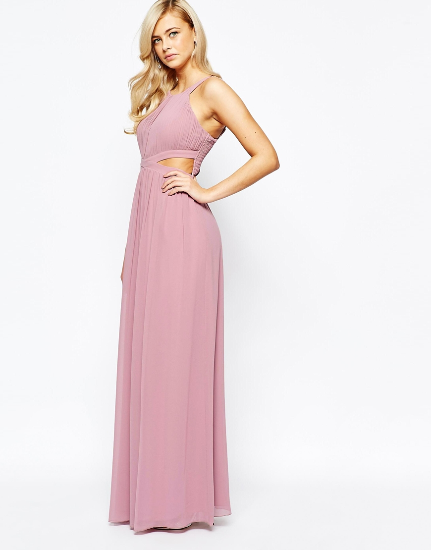 Little mistress Chiffon Maxi Dress With Cut Outs in Pink - Lyst