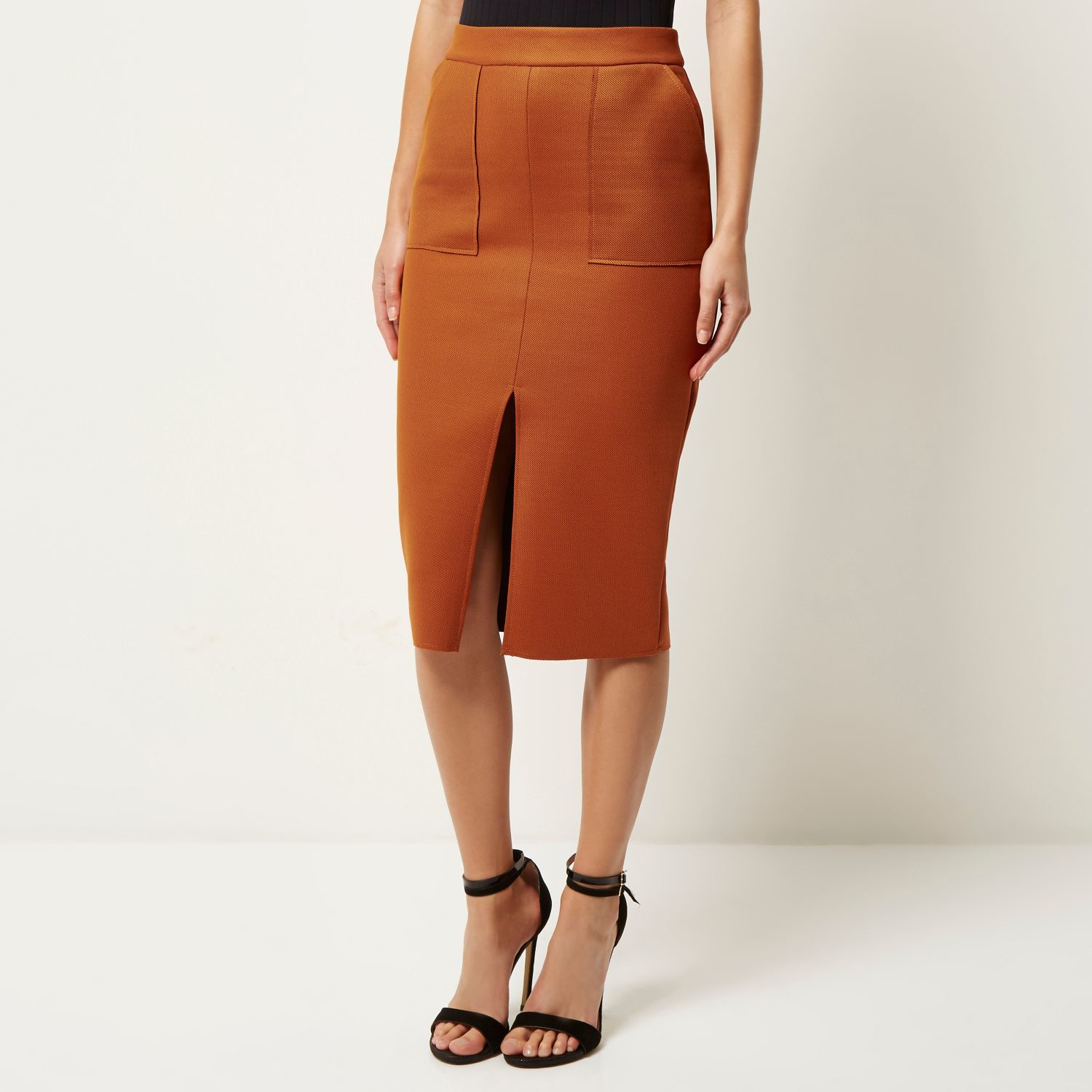 Womens Beige button front belted pencil skirt River Island Buy Cheap Professional Footaction Cheap Online a1iyefC