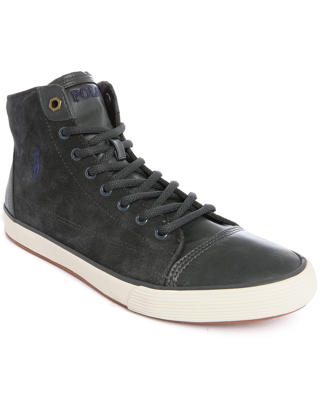 polo ralph kelsey hi grey suede sneakers in gray