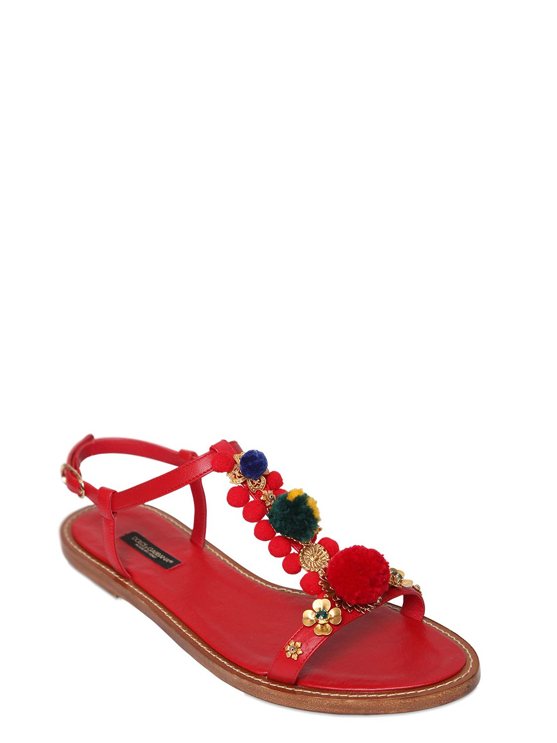 de23cf0a2 Dolce & Gabbana 10mm Pompom Leather T-strap Sandals in Red - Lyst