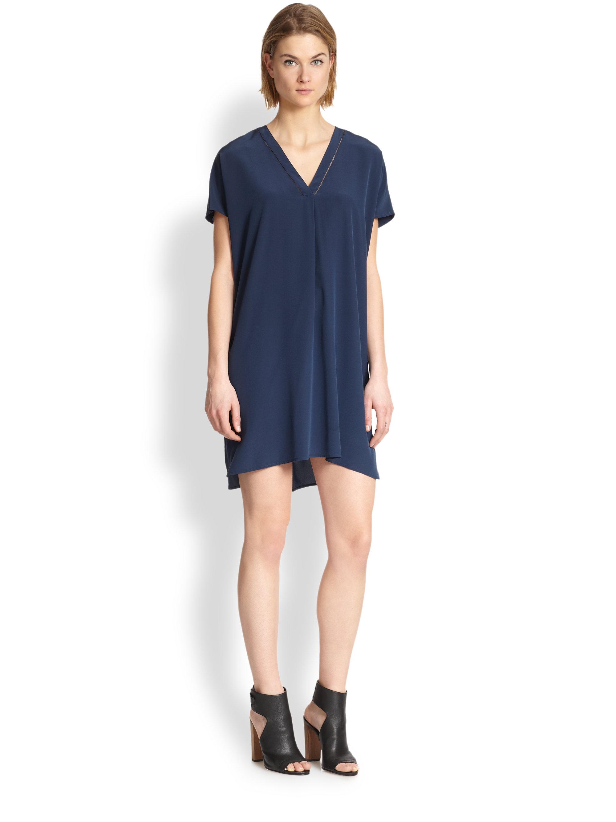 Vince Vneck Silk Dress In Blue Coastal Lyst