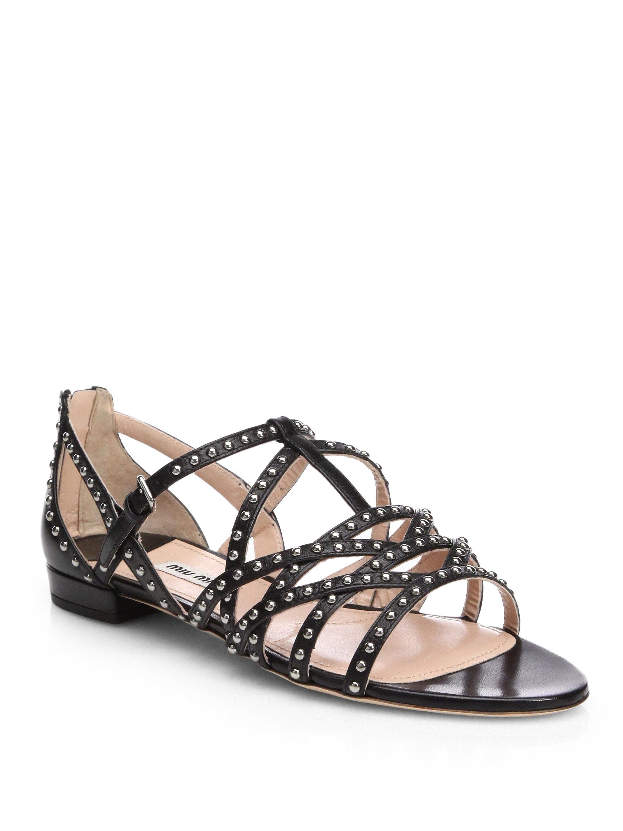 Miu Miu Flat strappy sandals Quality For Sale Free Shipping Free Shipping Genuine Free Shipping Clearance aHrrW