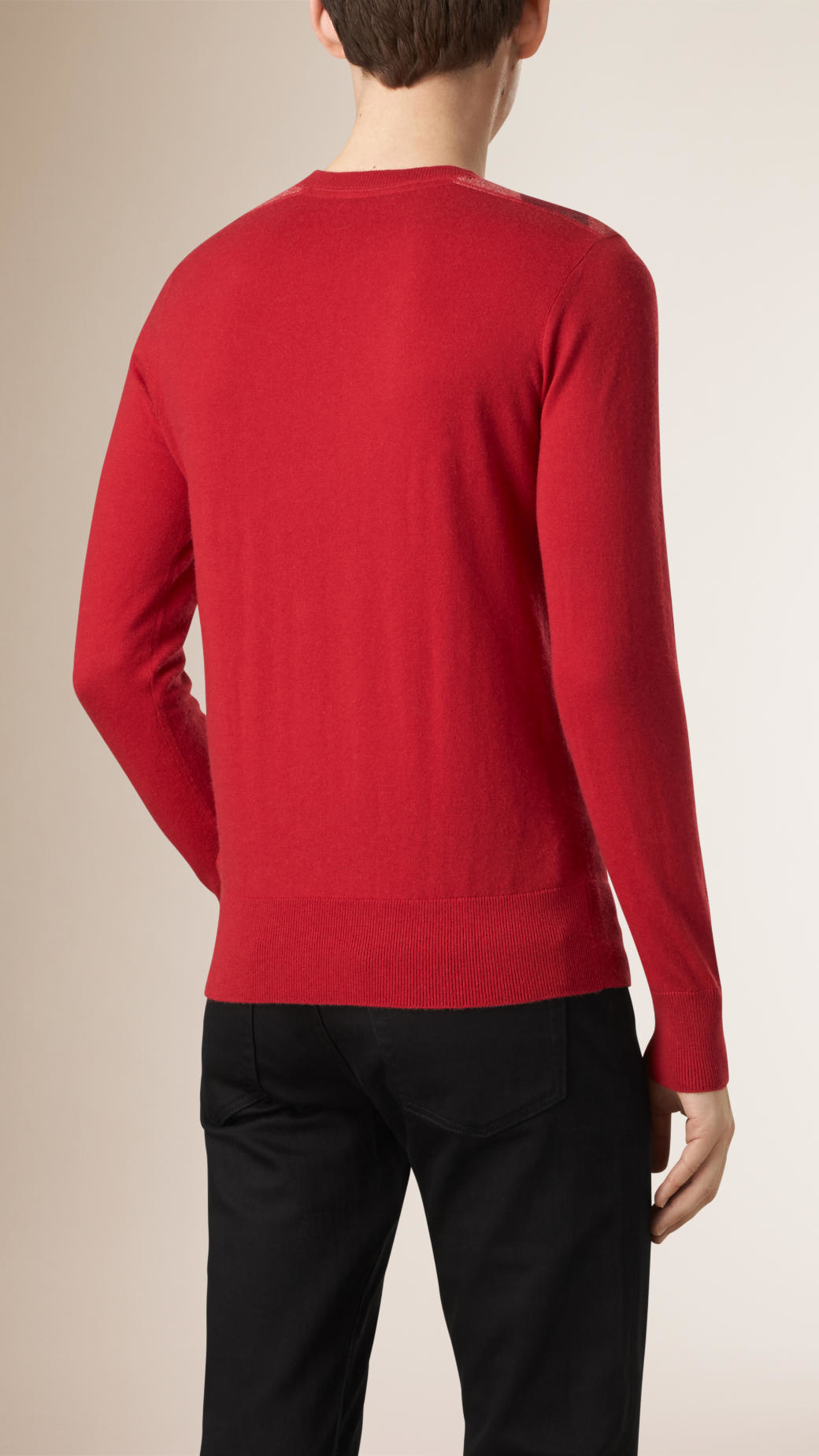 Burberry Check Detail Cotton Cashmere Sweater Military Red in Red ...