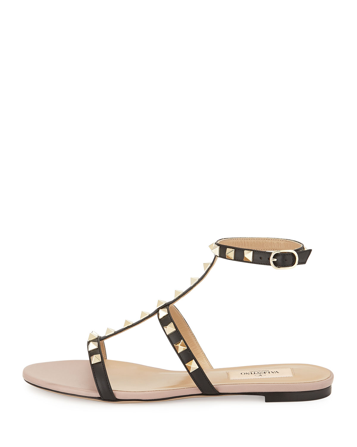 Womens Cuir Rockstud Cheville-appartements Sangle Valentino NJwuhoEmA