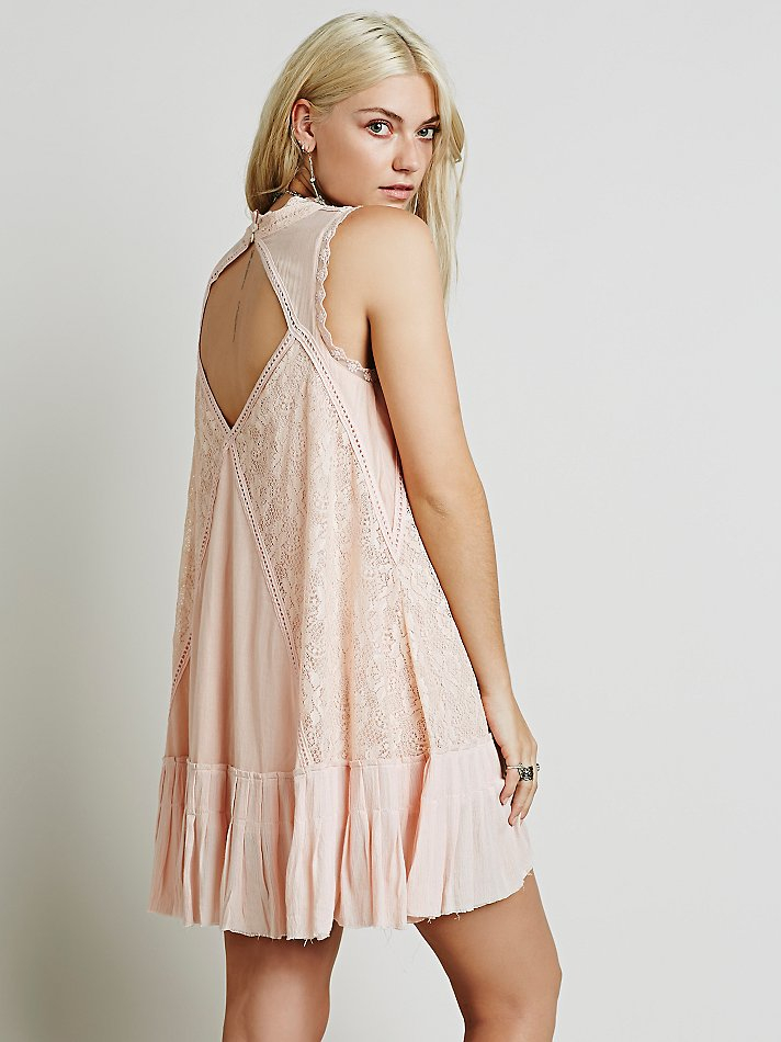 Free people Fp One Angel Lace Dress in Pink  Lyst