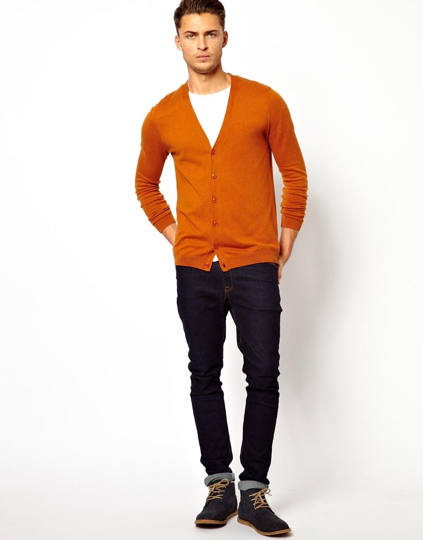 Asos Cardigan in Orange for Men | Lyst
