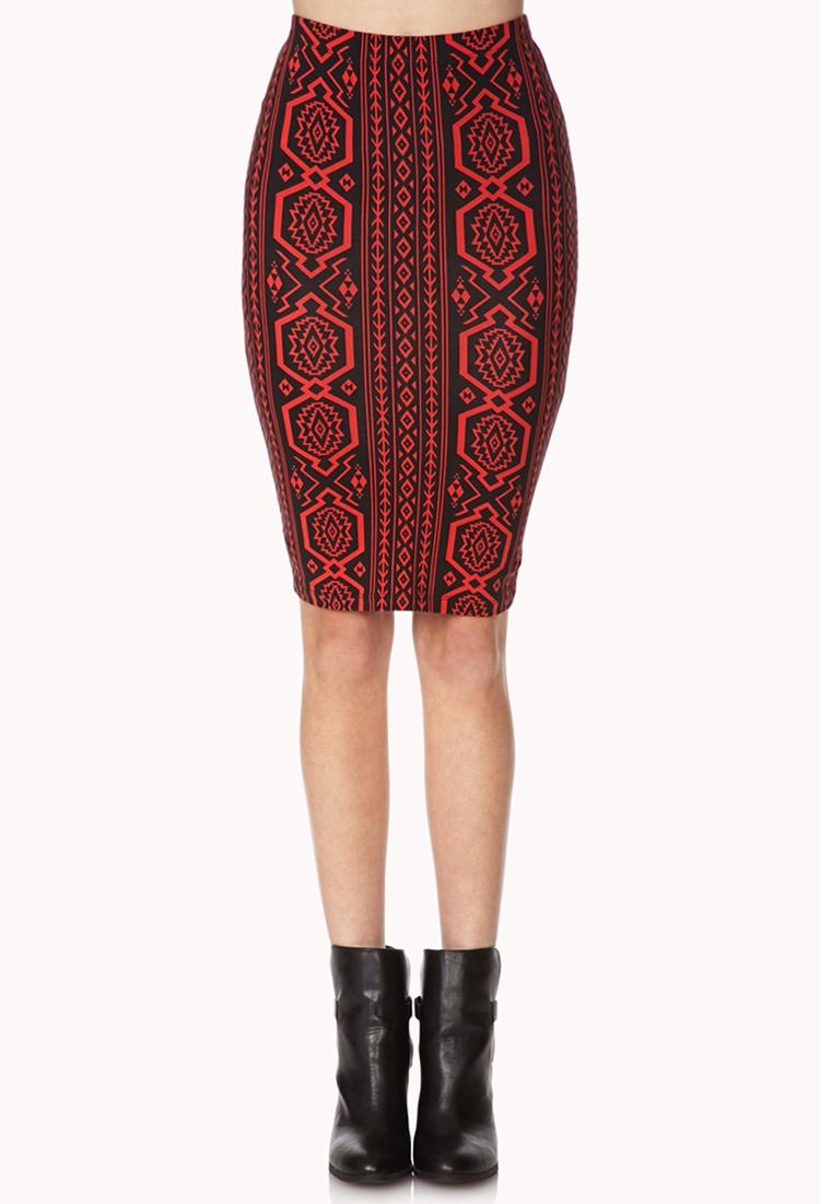 forever 21 tribal print pencil skirt in tomato black