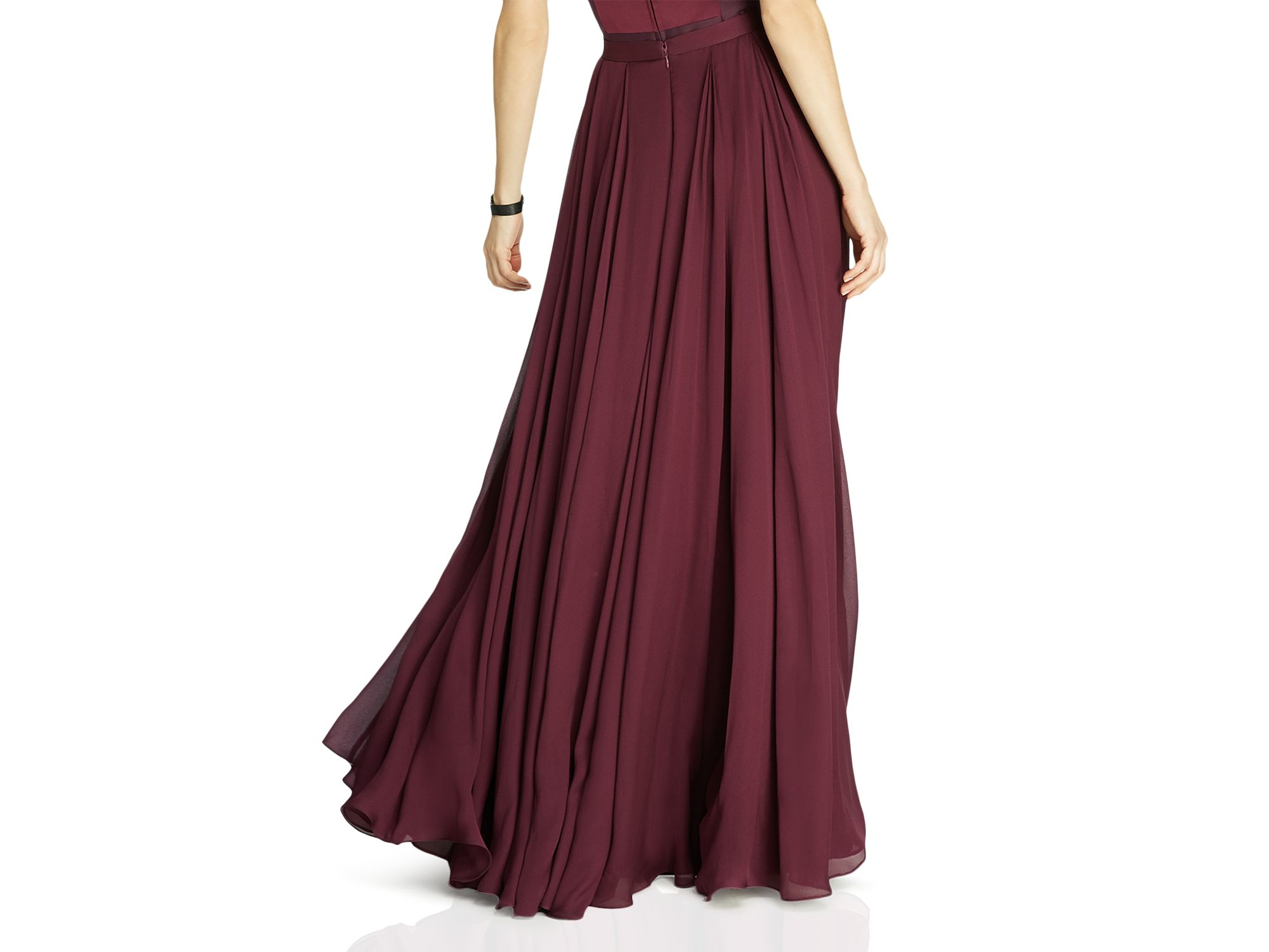 Halston Flowing Georgette Maxi Skirt in Red | Lyst