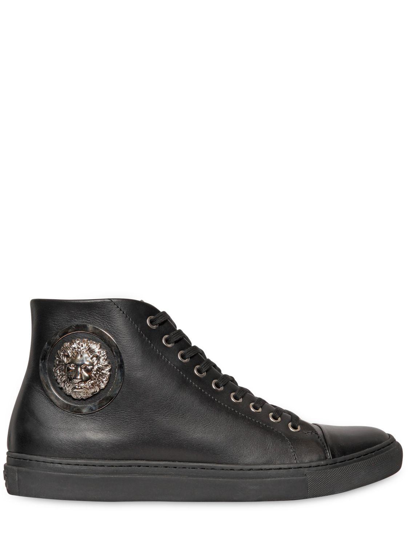 7384db9121af Lyst - Versus Lion Head Leather High Top Sneakers in Black for Men