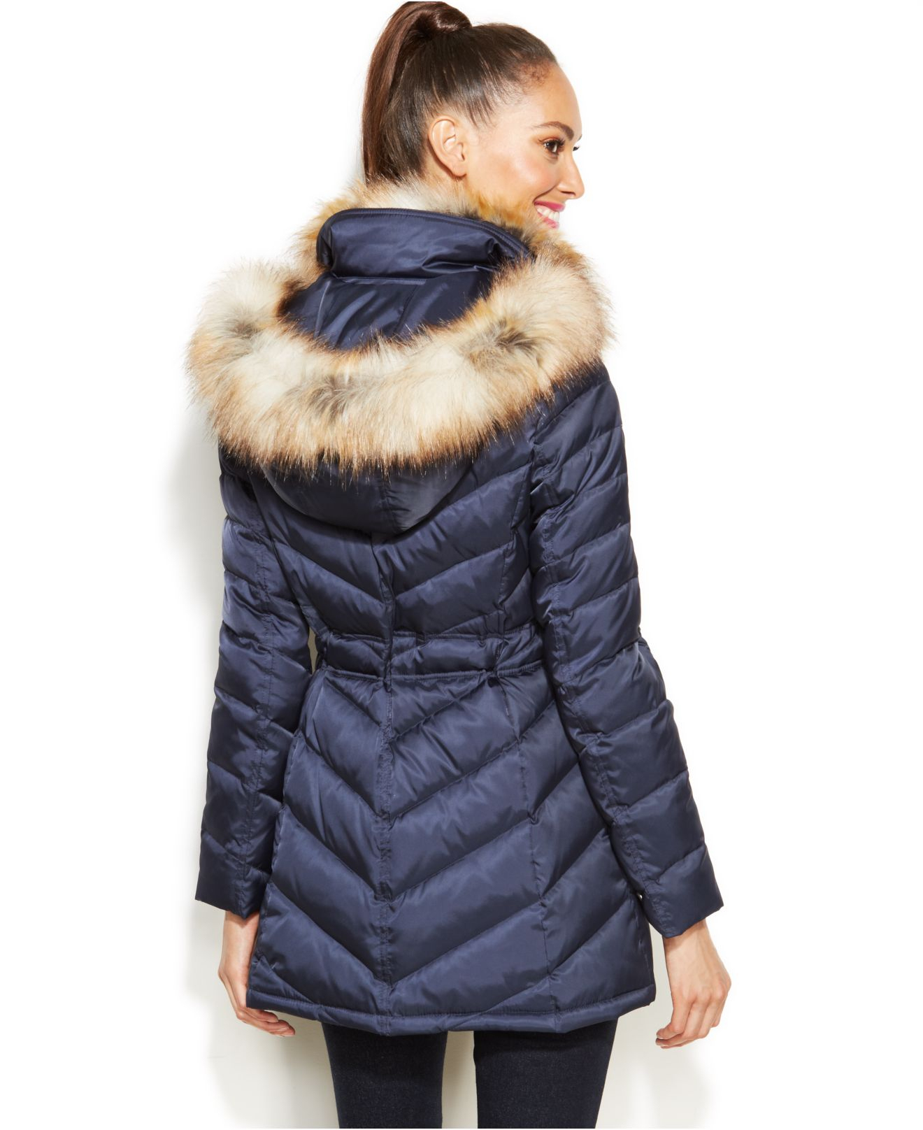 Laundry By Shelli Segal Faux Fur Hooded Quilted Puffer