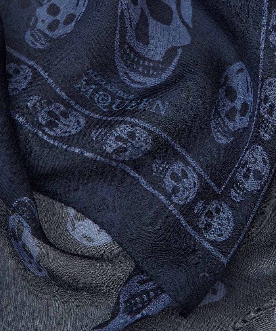 ab19da306273f Lyst Alexander Mcqueen Navy Clic Skull Chiffon Scarf In Blue