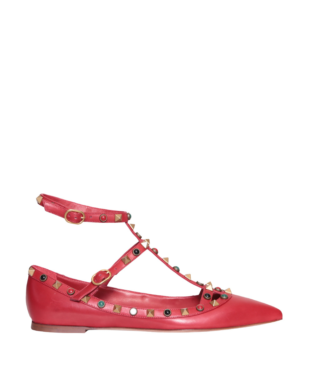 Lyst - Valentino Studded Flat Shoes in Red