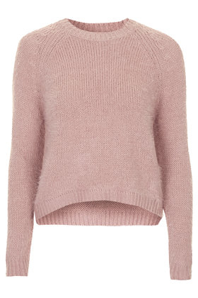 9d71abc501 TOPSHOP Fluffy Crew Neck Jumper in Pink - Lyst