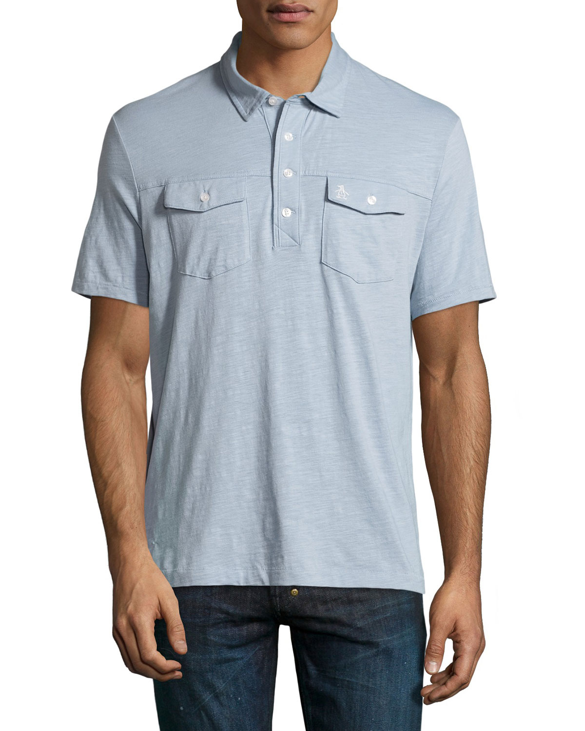 Original penguin slub double pocket polo shirt in blue for for Polo t shirts with pockets