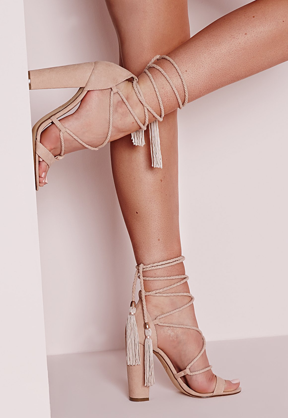 2ee03287875 Missguided Lace Up Tassel Block Heel Sandals Nude - Lyst
