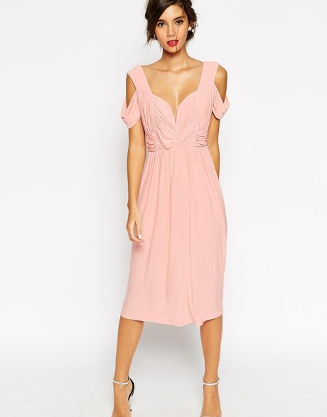 Asos Wedding Cold Shoulder Ruched Midi Dress In Pink