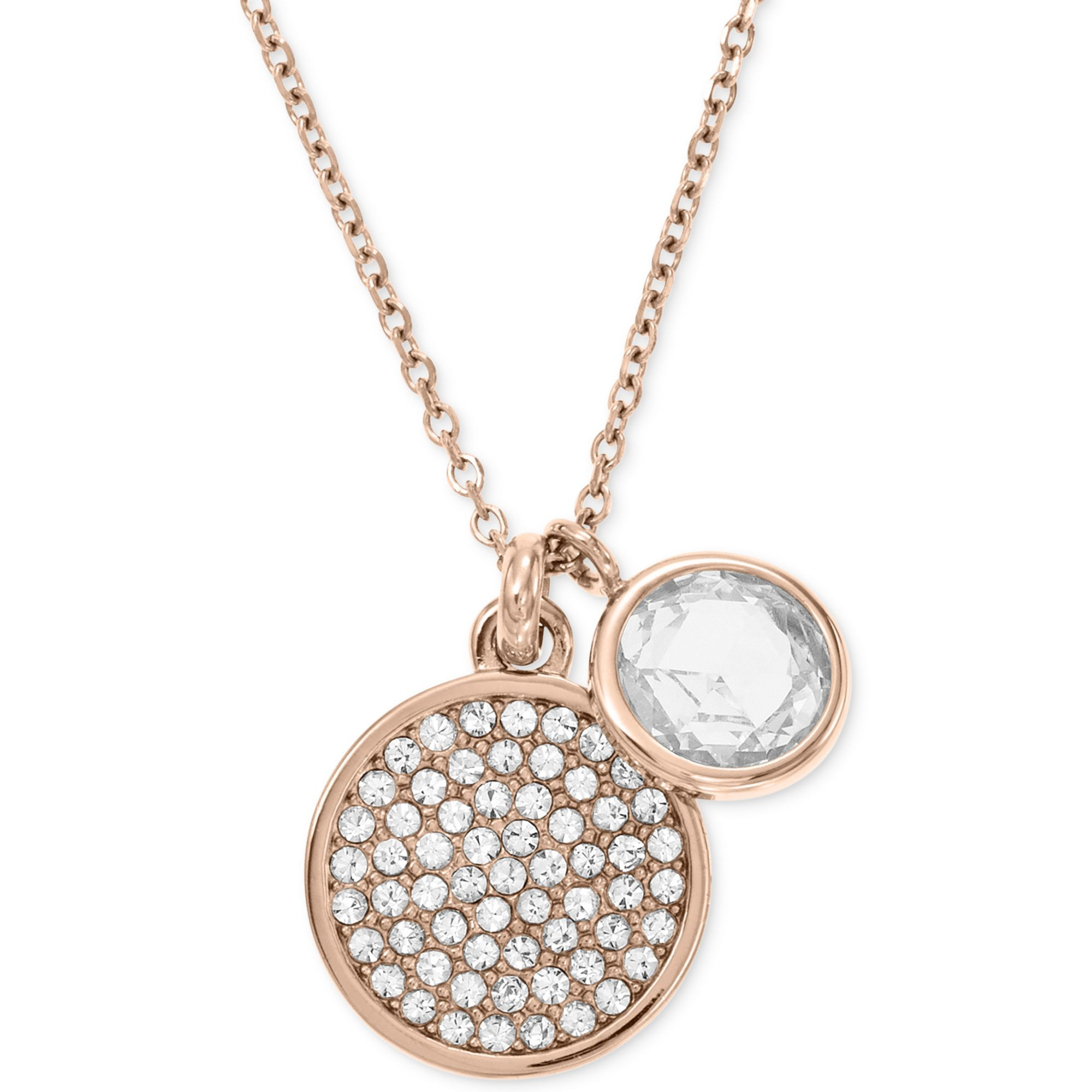 Lyst michael kors rose goldtone round crystal charm pendant gallery mozeypictures Gallery