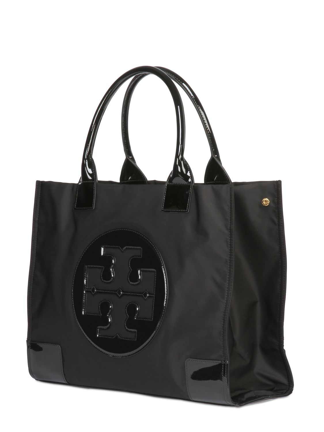 Tory Burch Large Ella Nylon Amp Patent Leather Tote In Black