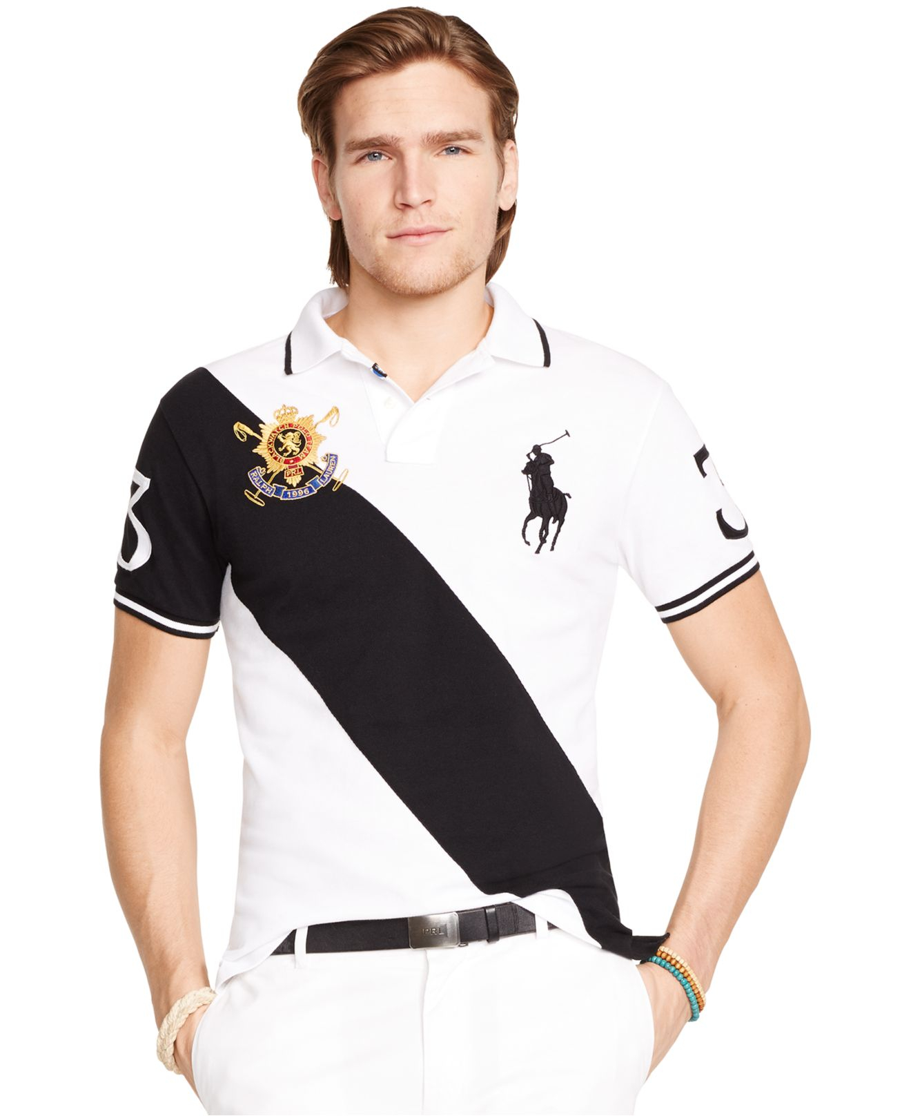 6ebc2b3a Polo Ralph Lauren Black Watch Custom-fit Polo in Black for Men - Lyst