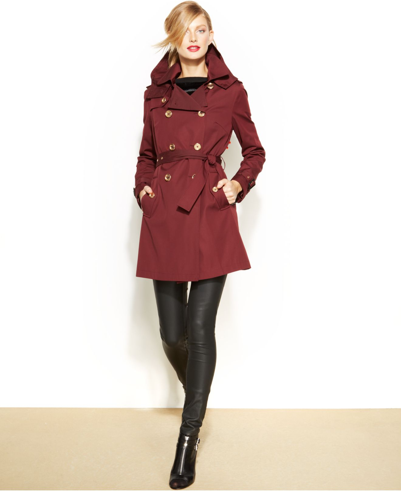 Michael kors Michael Removable-Liner Trench Coat in Red   Lyst