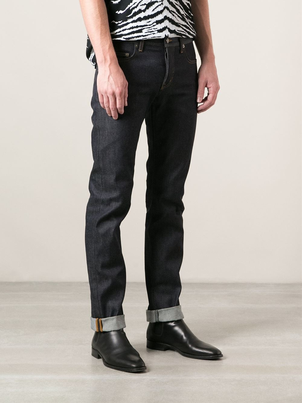 lyst saint laurent straight leg jeans in blue for men. Black Bedroom Furniture Sets. Home Design Ideas