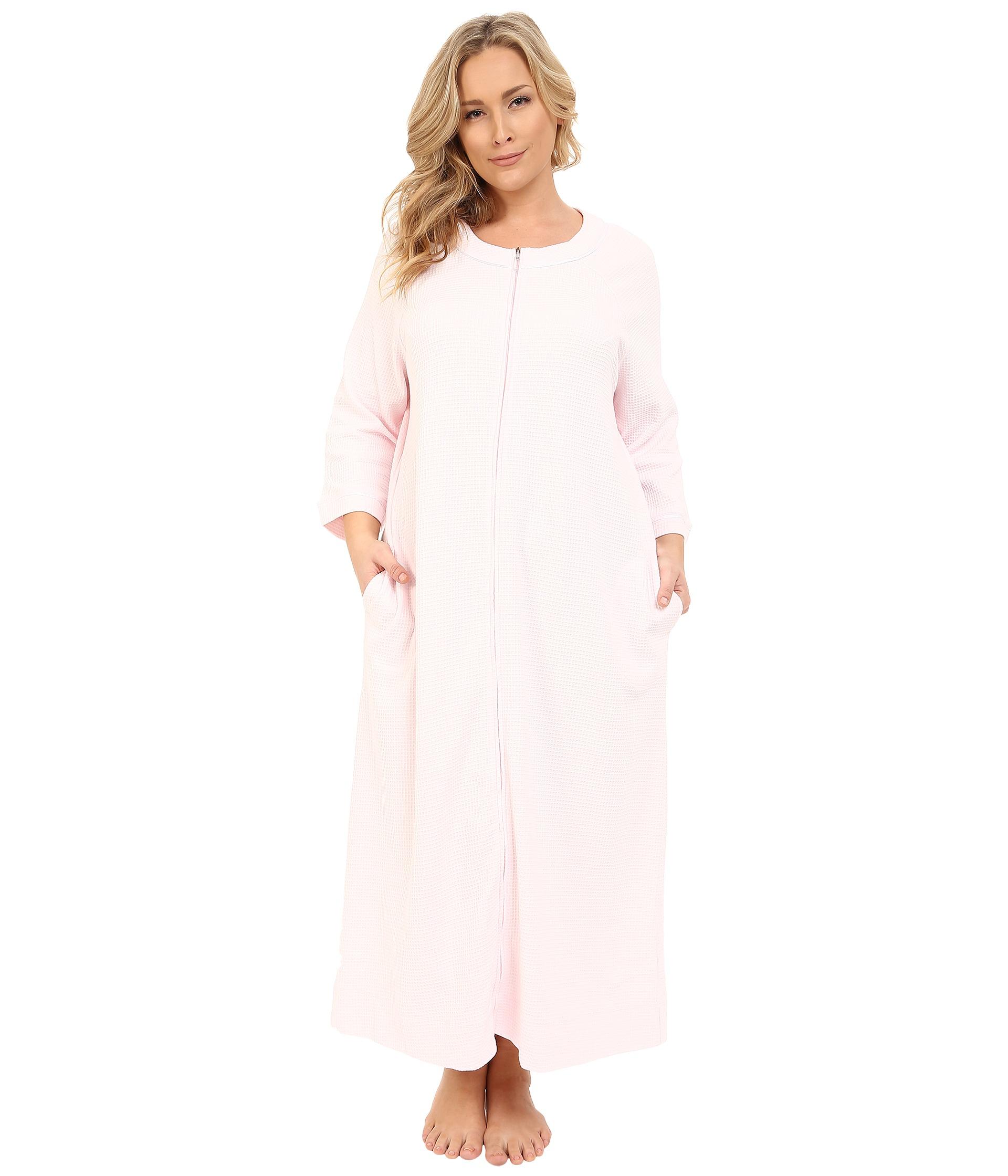 Lyst - Carole Hochman Plus Size Waffle Knit Zip Robe in Pink