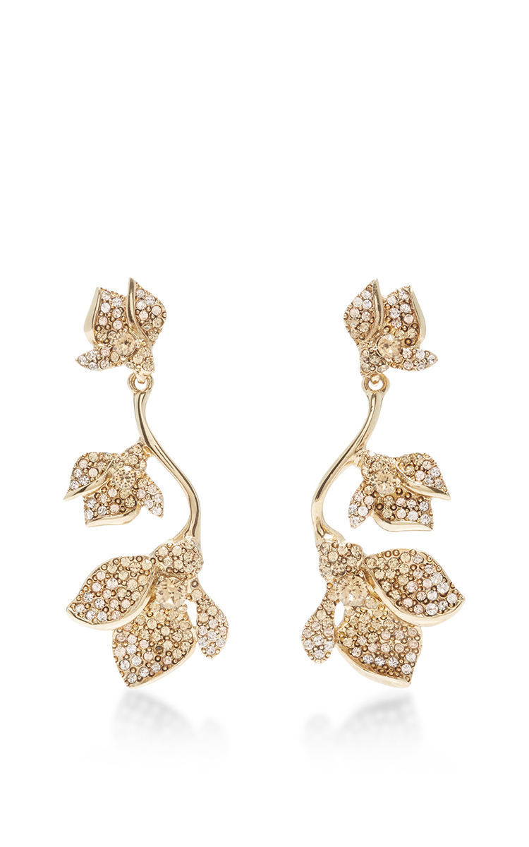 Oscar De La Renta Multi Floral Crystal Earrings ZxDsaghVo1