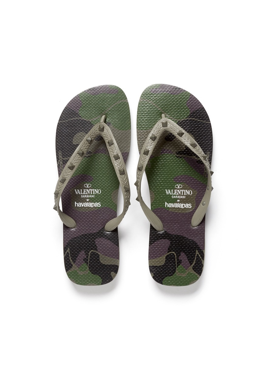 4127273b5514 Valentino X Havaianas Studded Flip Flop in Green for Men - Lyst