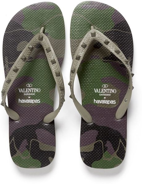 Valentino X Havaianas Studded Flipflops In Green For Men