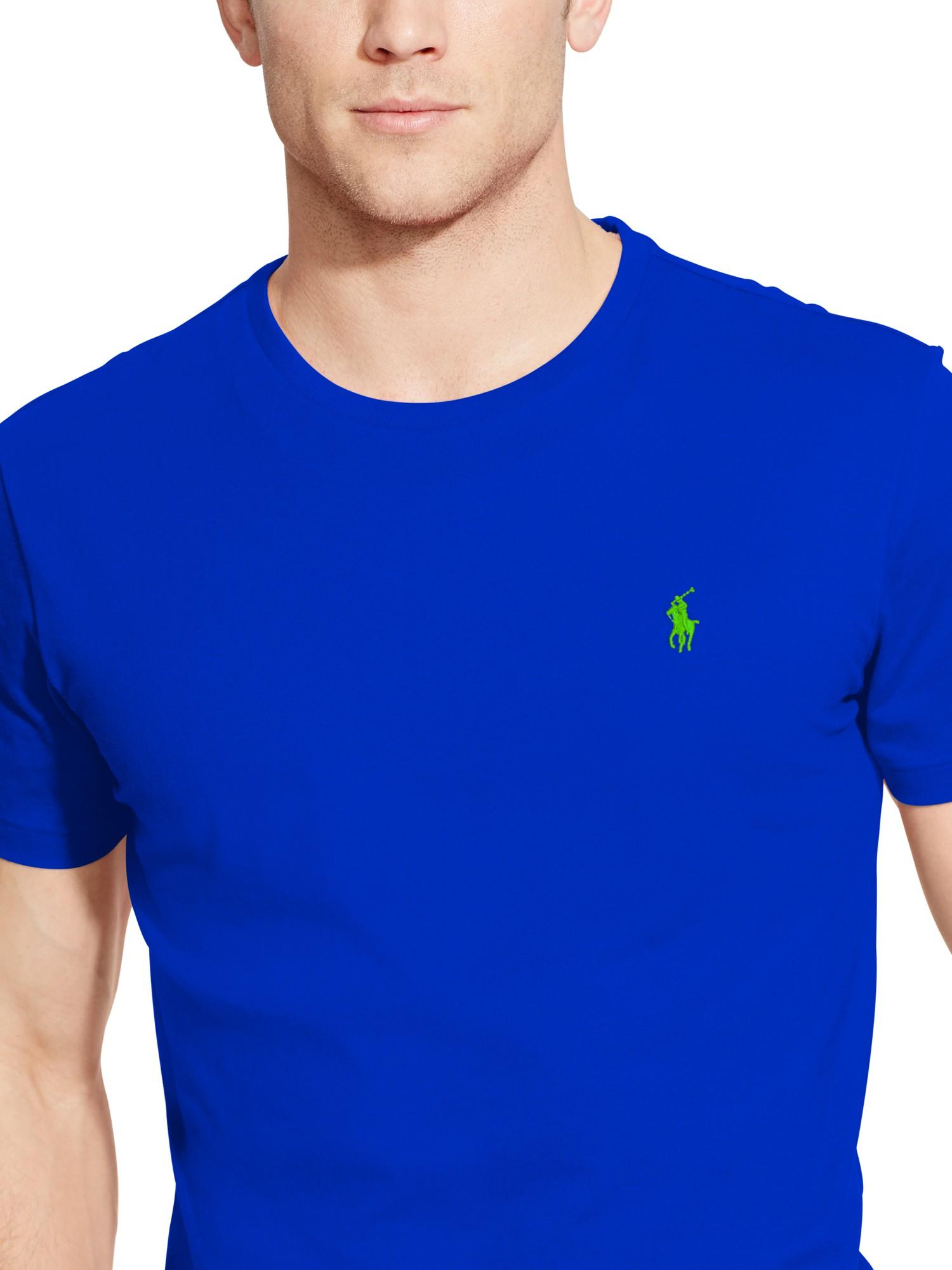 polo ralph lauren basic custom fit t shirt in blue for men