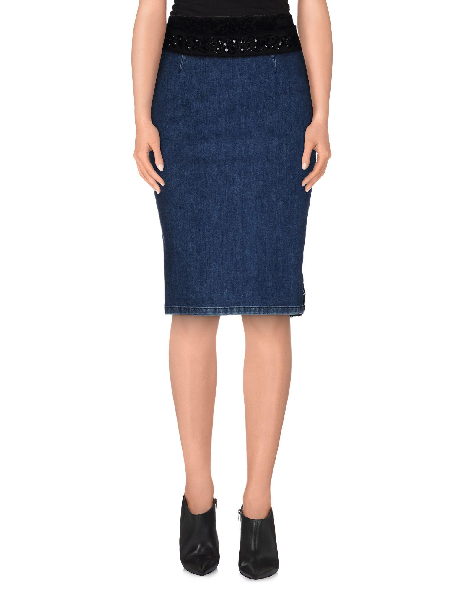 set denim skirt in blue