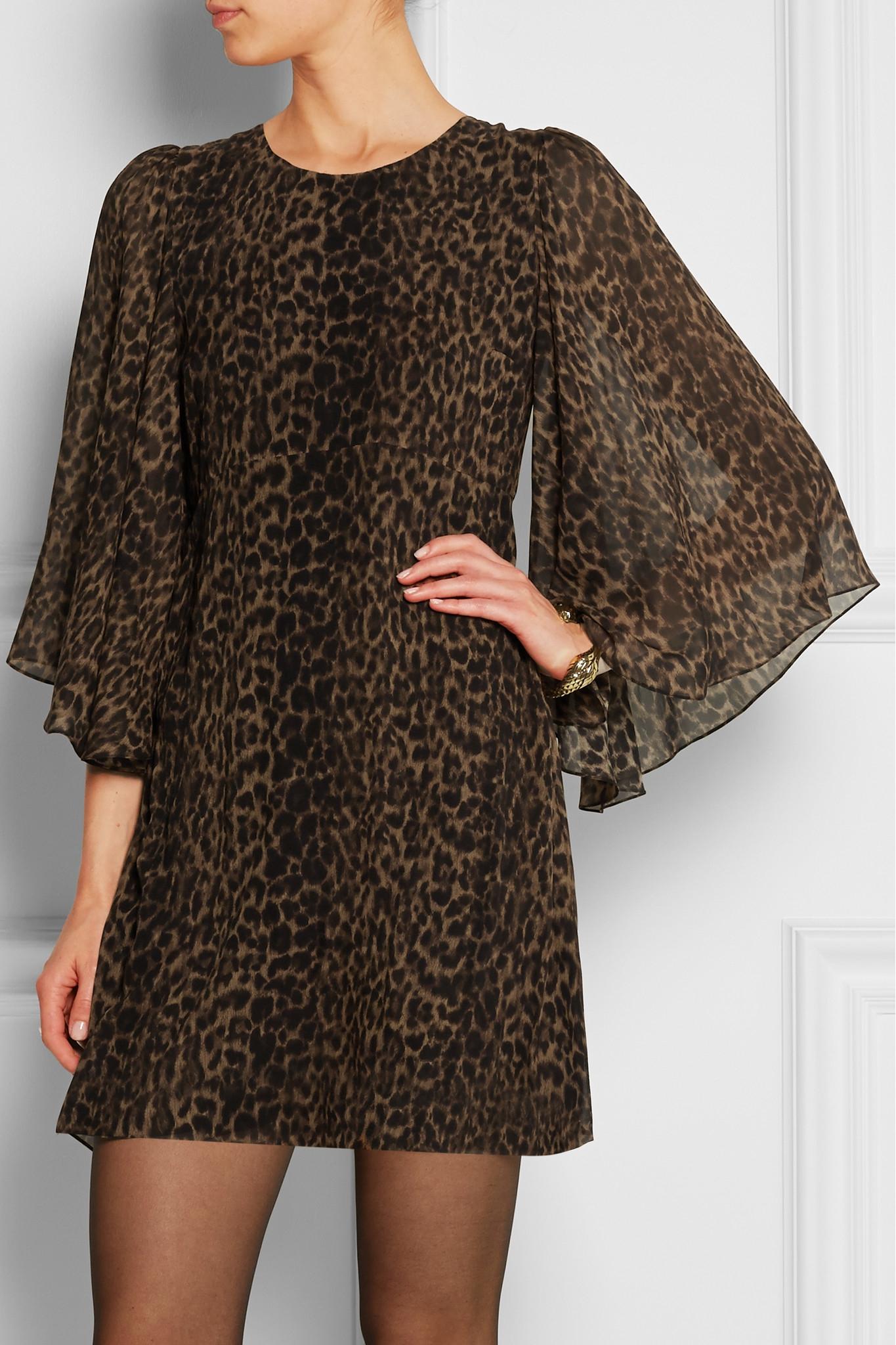 Lyst Saint Laurent Leopard Print Silk Chiffon Mini Dress
