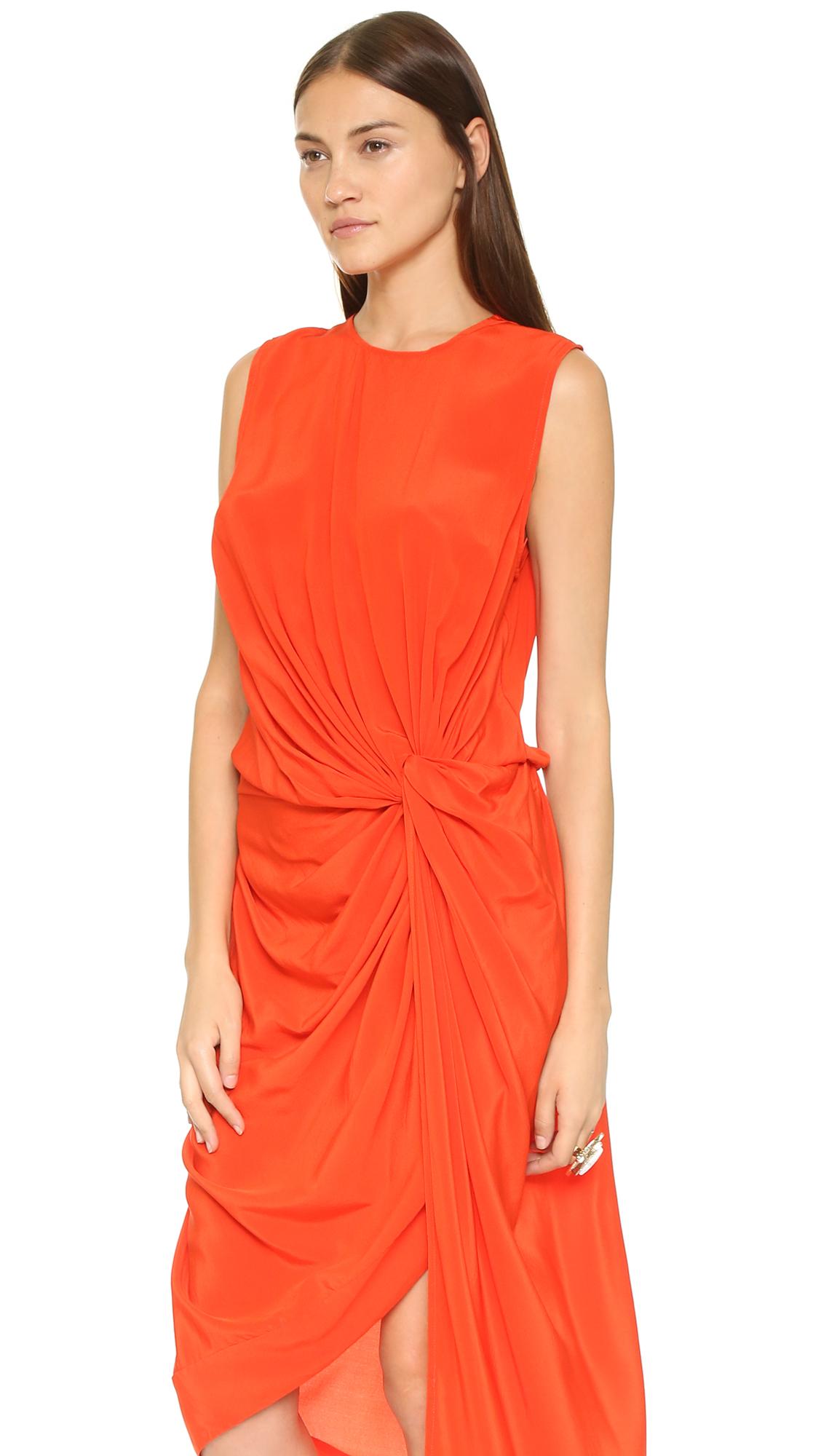 Zimmermann Silk Twist Drape Dress In Red Lyst