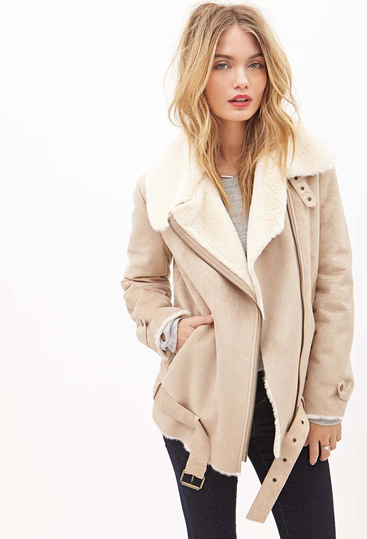 Lyst Forever 21 Contemporary Faux Suede Moto Jacket In