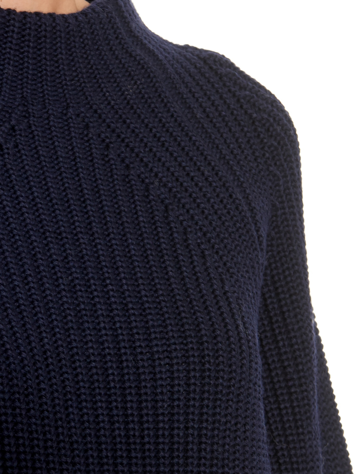 Lemaire Funnel-neck Ribbed-knit Wool Sweater in Blue | Lyst