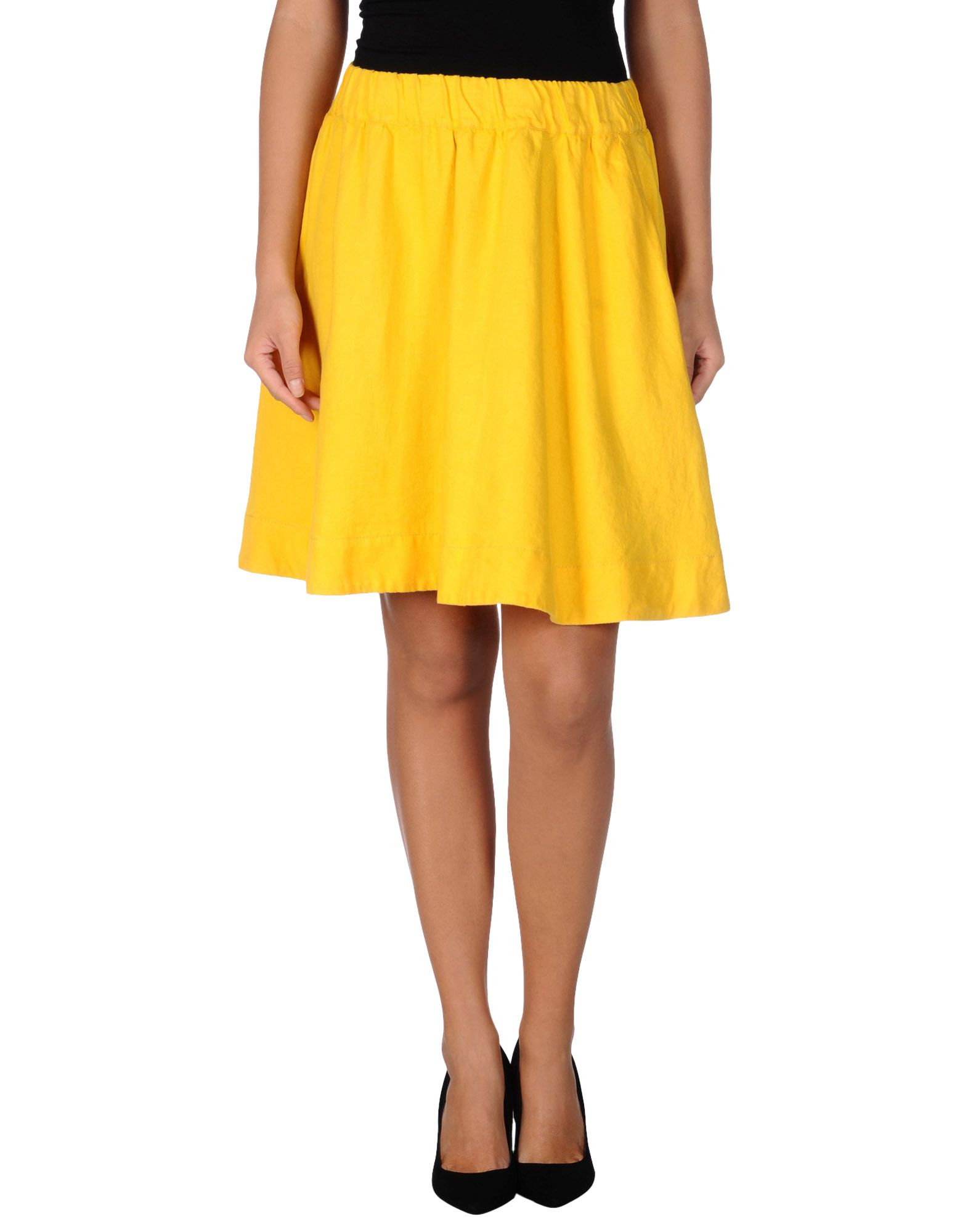 moschino knee length skirt in yellow lyst