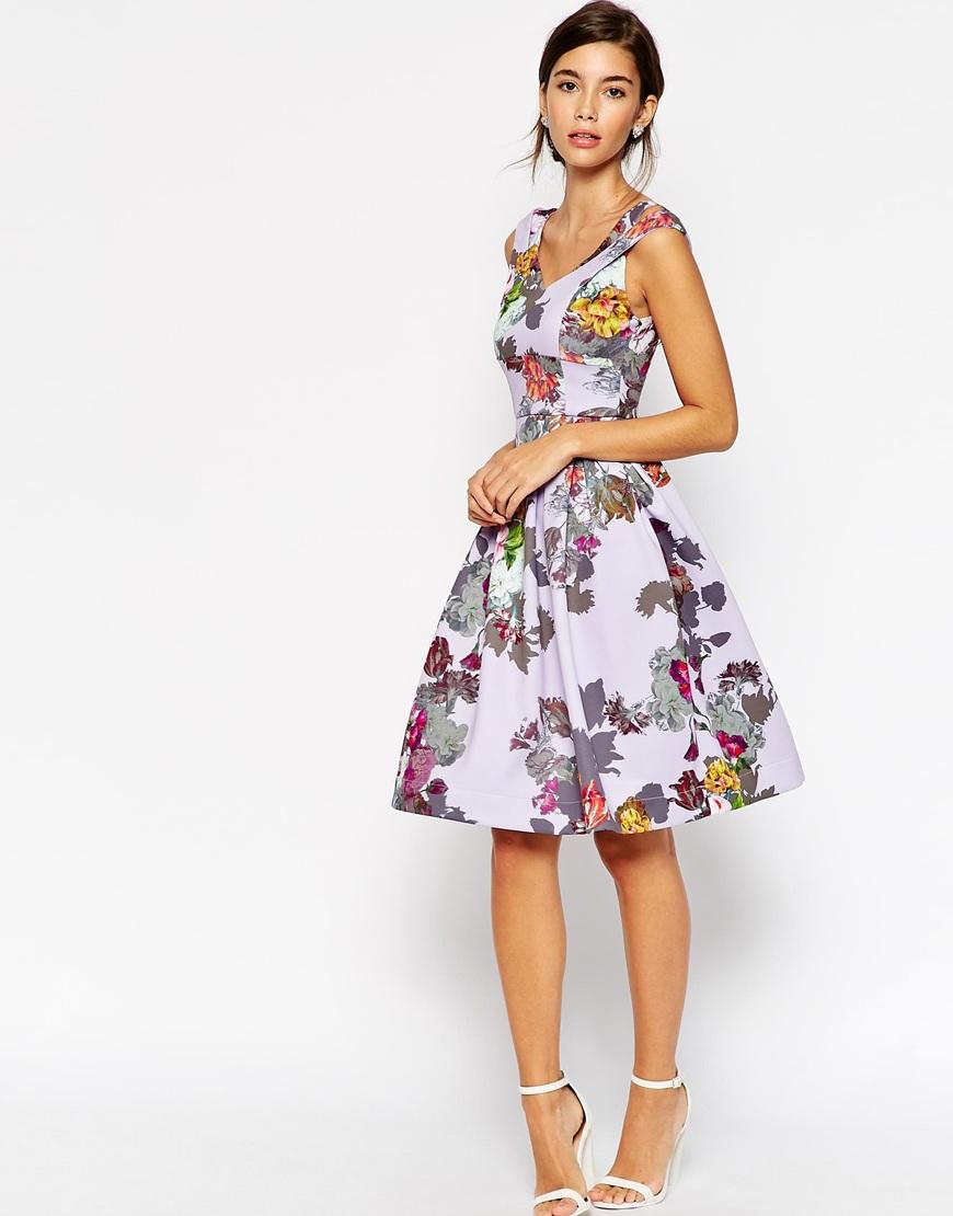 Asos Lilac Floral Split Strap Debutante Dress in Black | Lyst