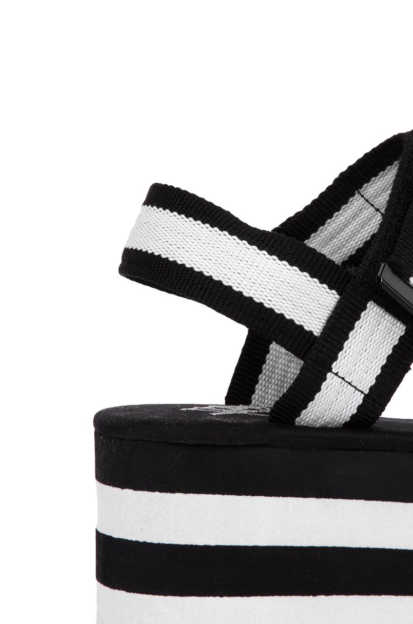 7b5dec4cae6a Lyst - YRU Prizm Flatform Sandals - Black white in Black