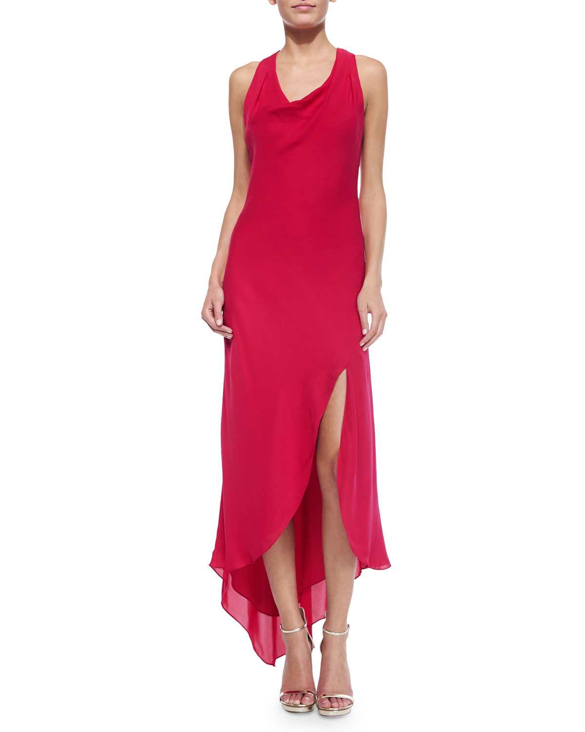 Haute hippie silk sleeveless cowl neck dress in red for To have and to haute dress