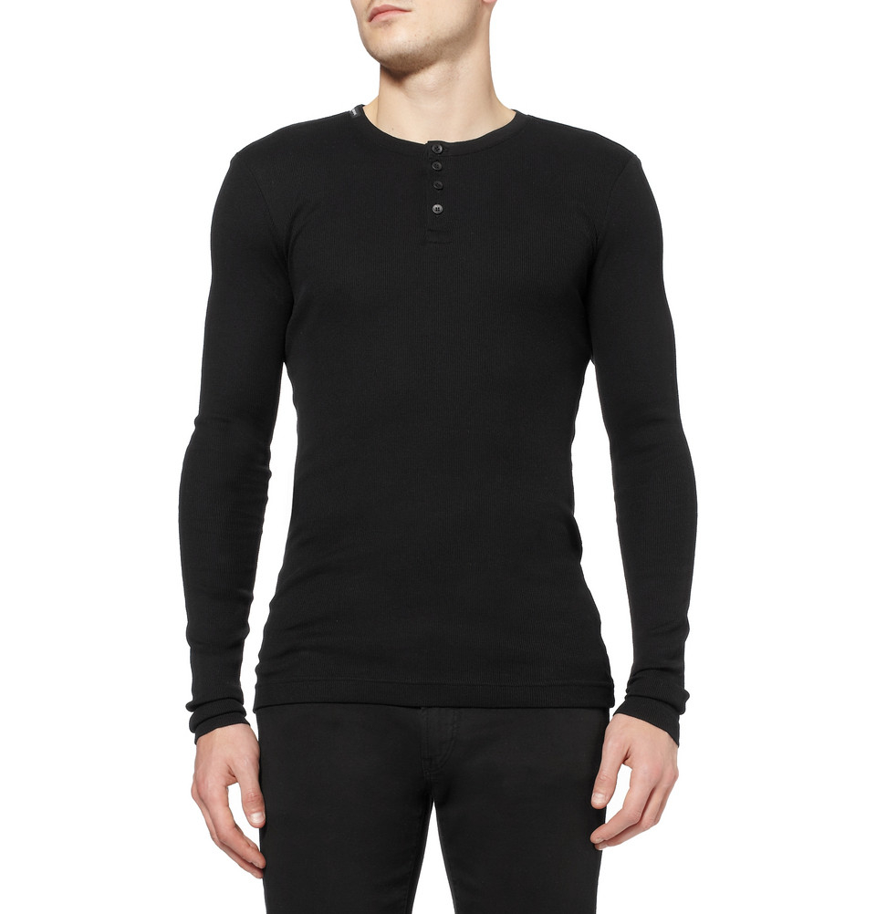 0474b6d3 Dolce & Gabbana Ribbed Cotton-Jersey Henley T-Shirt in Black for Men ...
