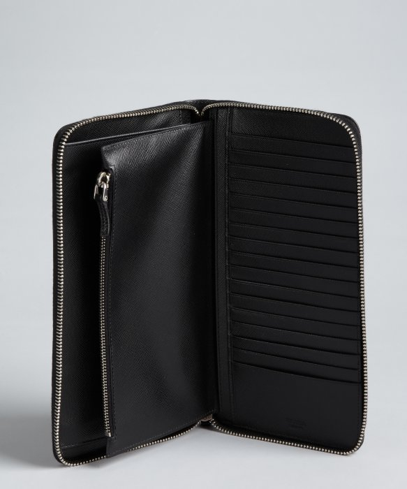 Prada Black Saffiano Leather Zip-Around Document Wallet in Black ...