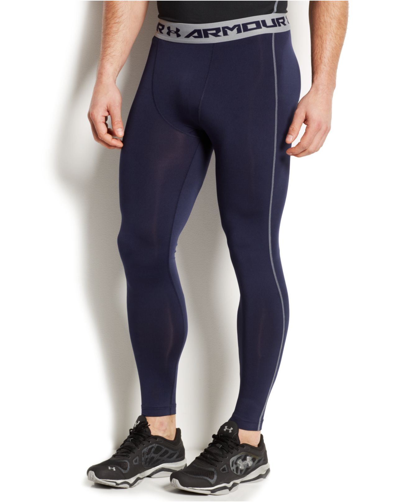 1fe56ade07a786 Under Armour Men's Heatgear Armour Compression Leggings in Blue for ...