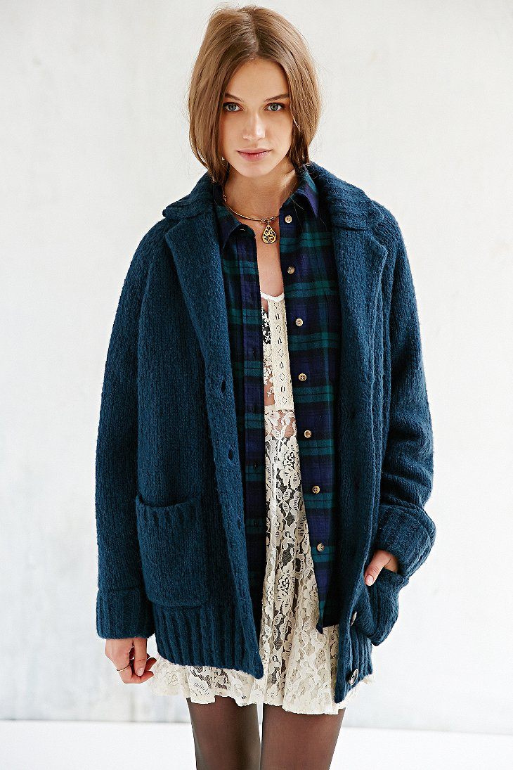 Bdg Cocoon Sweater Coat in Blue | Lyst