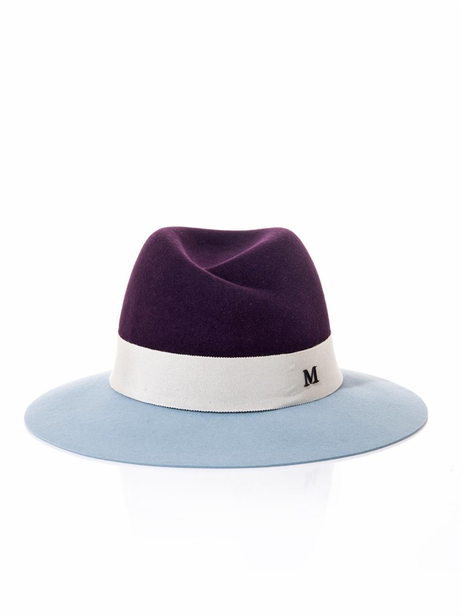 Lyst maison michel virginie bicolour fedora hat in purple for Maison michel