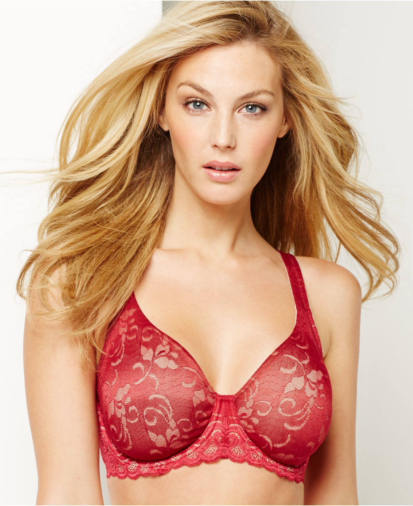 24eab025ed Lyst - Lilyette By Bali Beautiful Support Lace Minimizer Bra 977 in Red