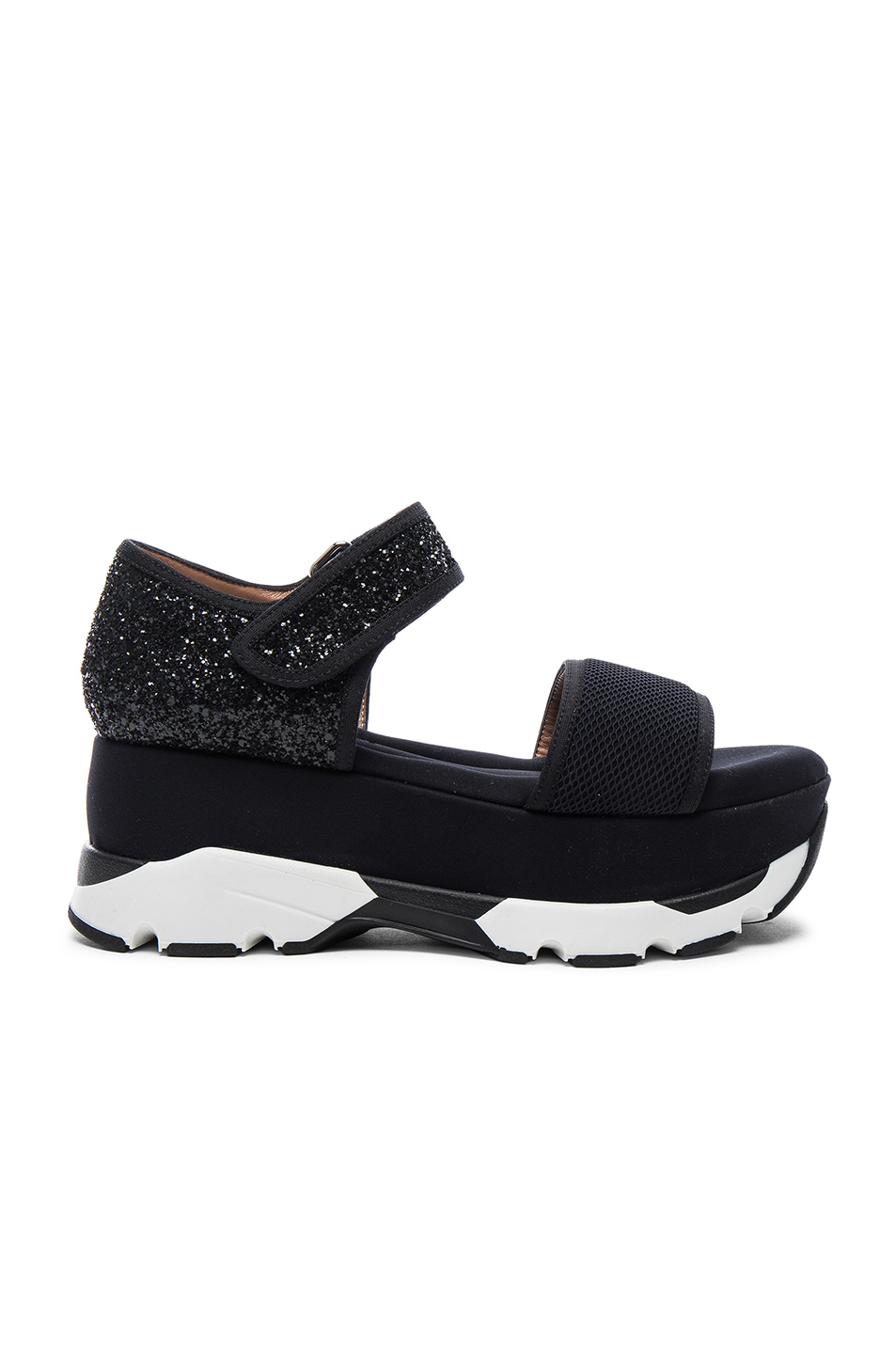 marni platform glitter sandals in black lyst