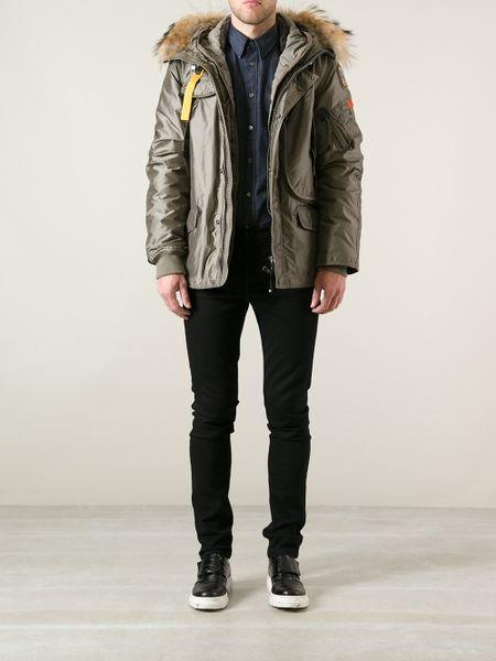 Parajumpers Fur Hood Coat In Gray For Men Grey Lyst
