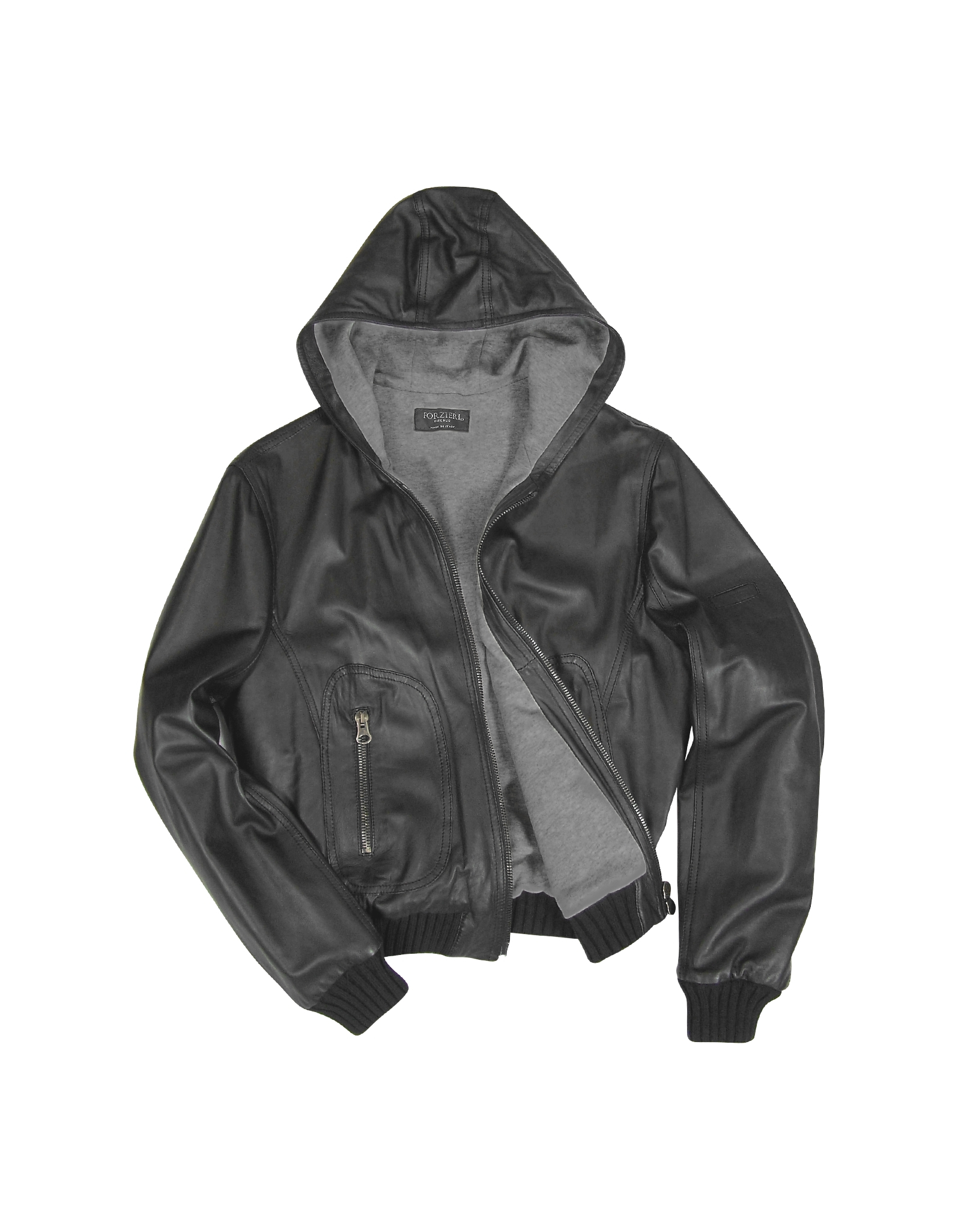 forzieri mens black leather hooded jacket in black for