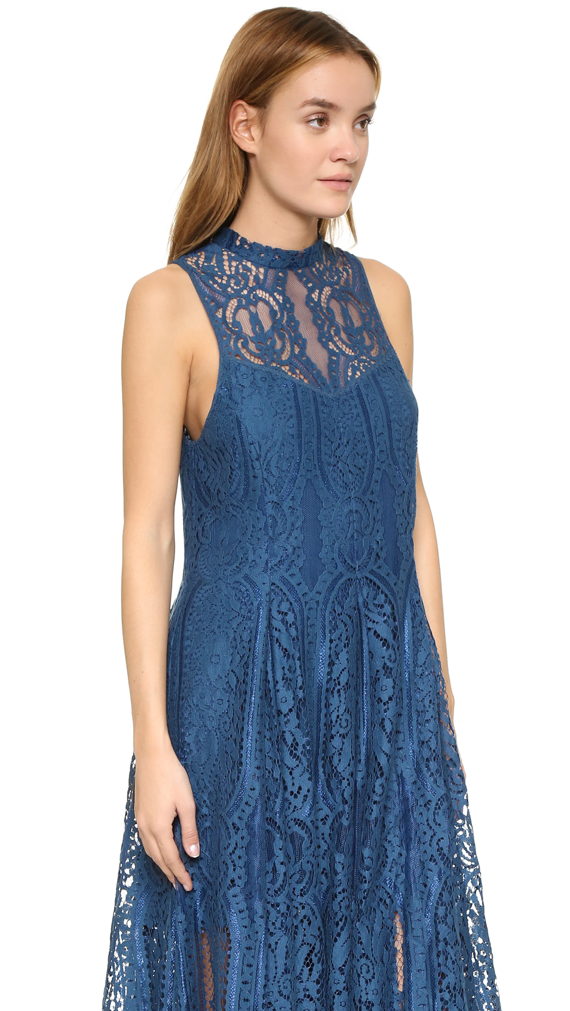 2c19372ea2 Lyst - Free People Angel Rays Trapeze Midi Dress in Blue